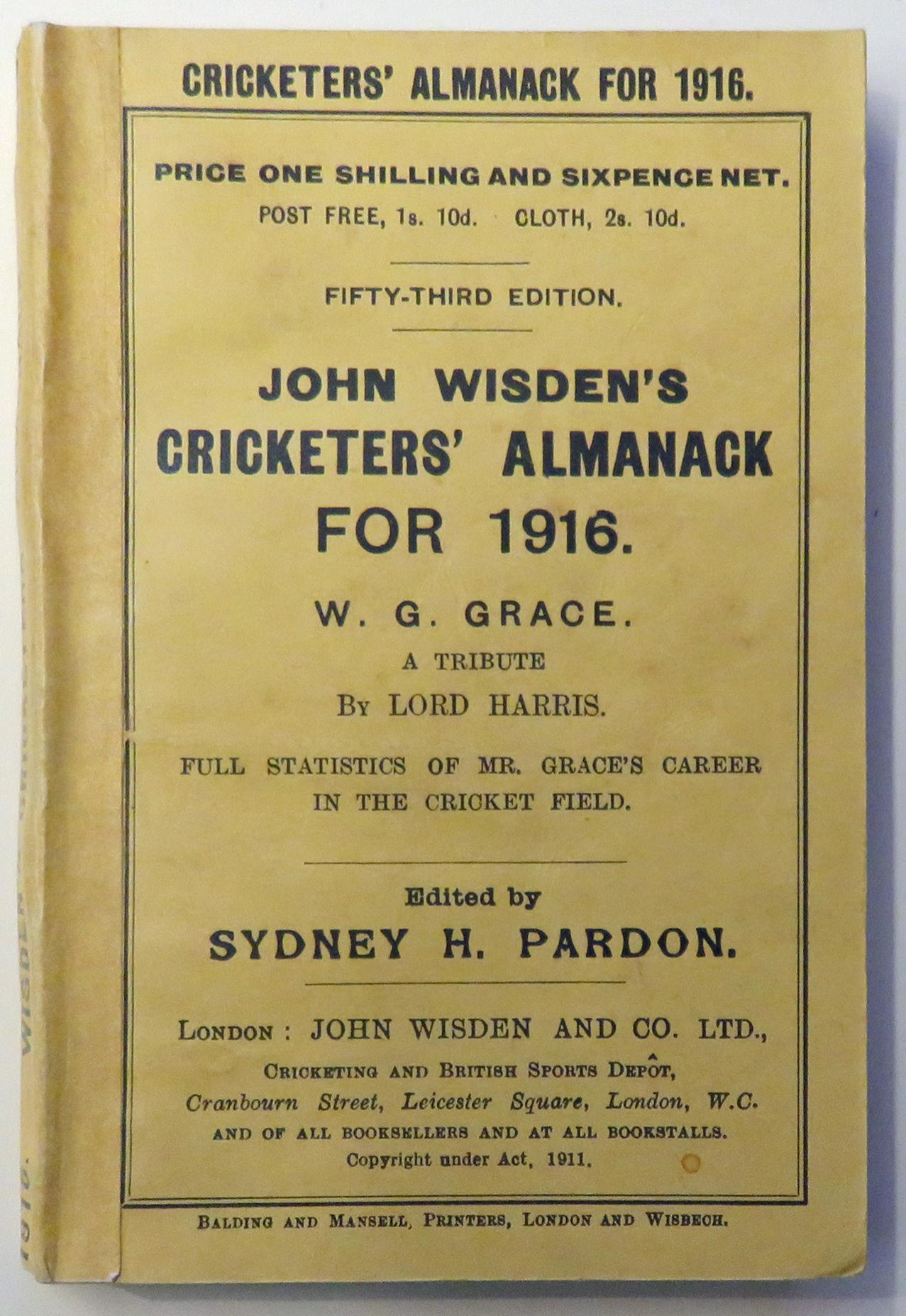 **John Wisden's Cricketers' Almanack For 1916