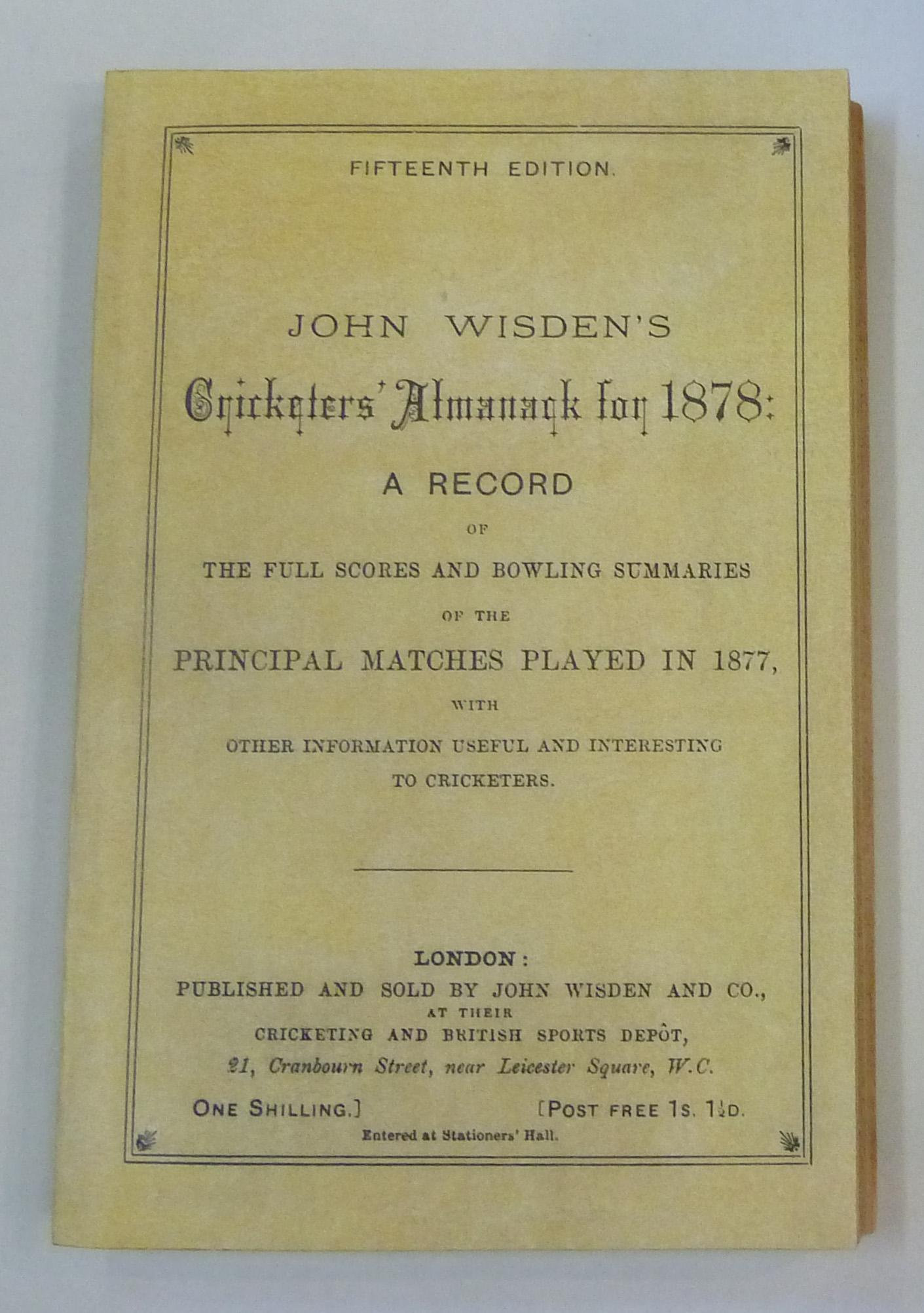 John Wisden's Cricketers' Almanack for 1878