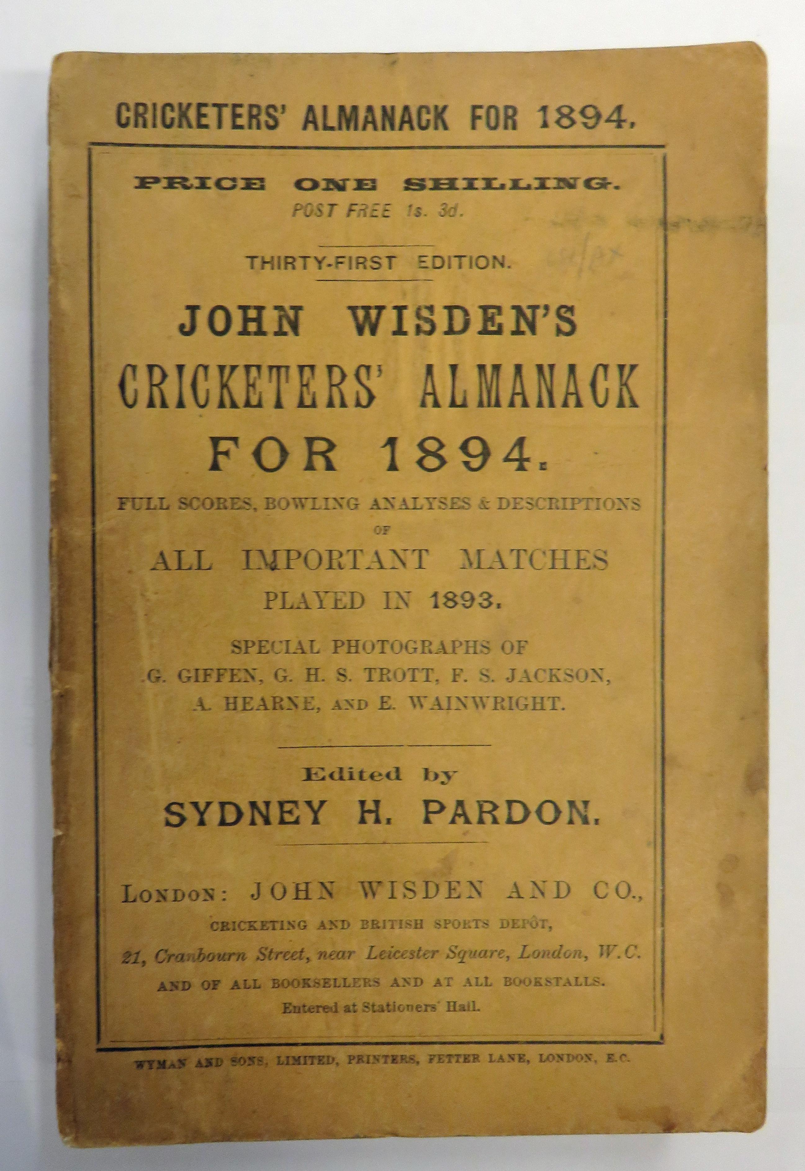 John Wisden Cricketers' Almanack for 1894