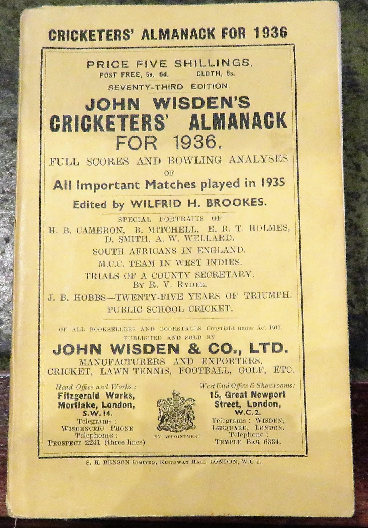 **John Wisden's Cricketers' Almanack For 1936