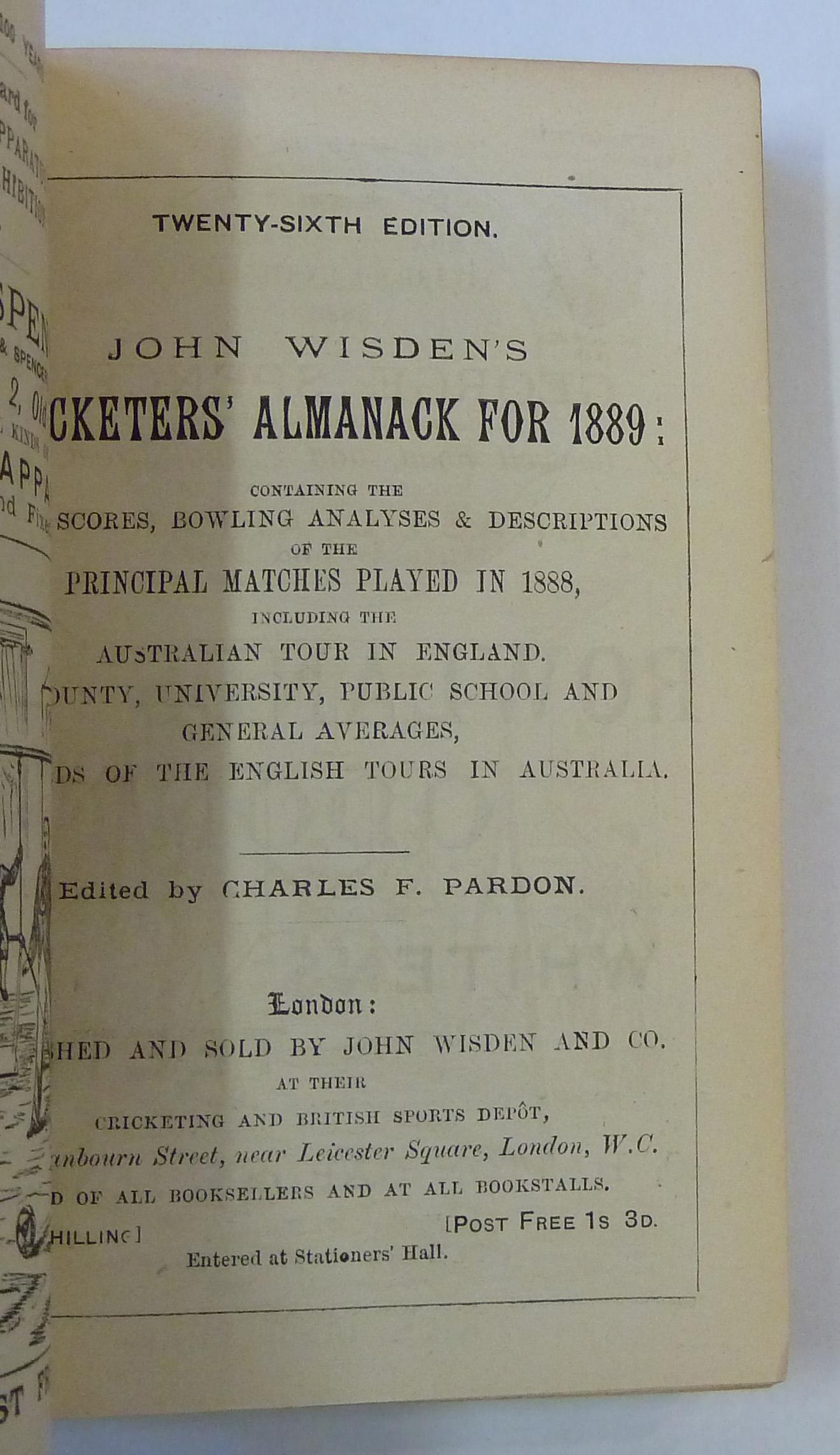 John Wisden's Cricketers' Almanack for 1889