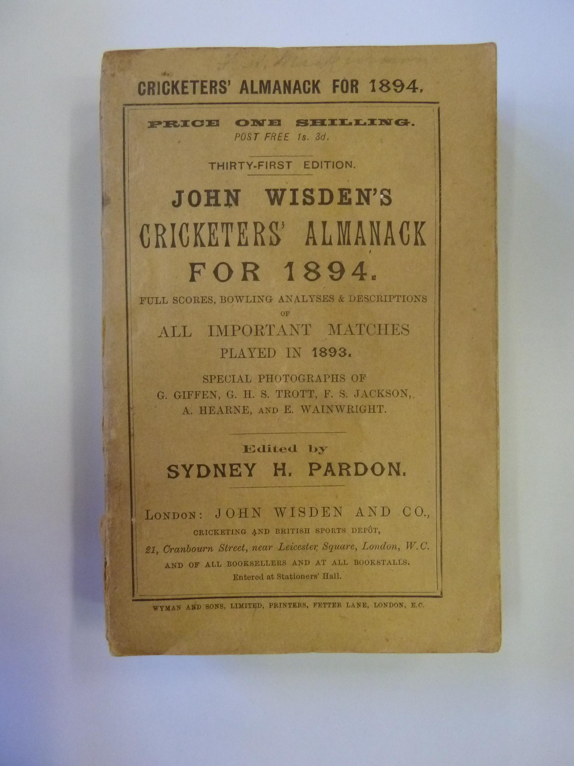 John Wisden's Cricketers' Almanack For 1894