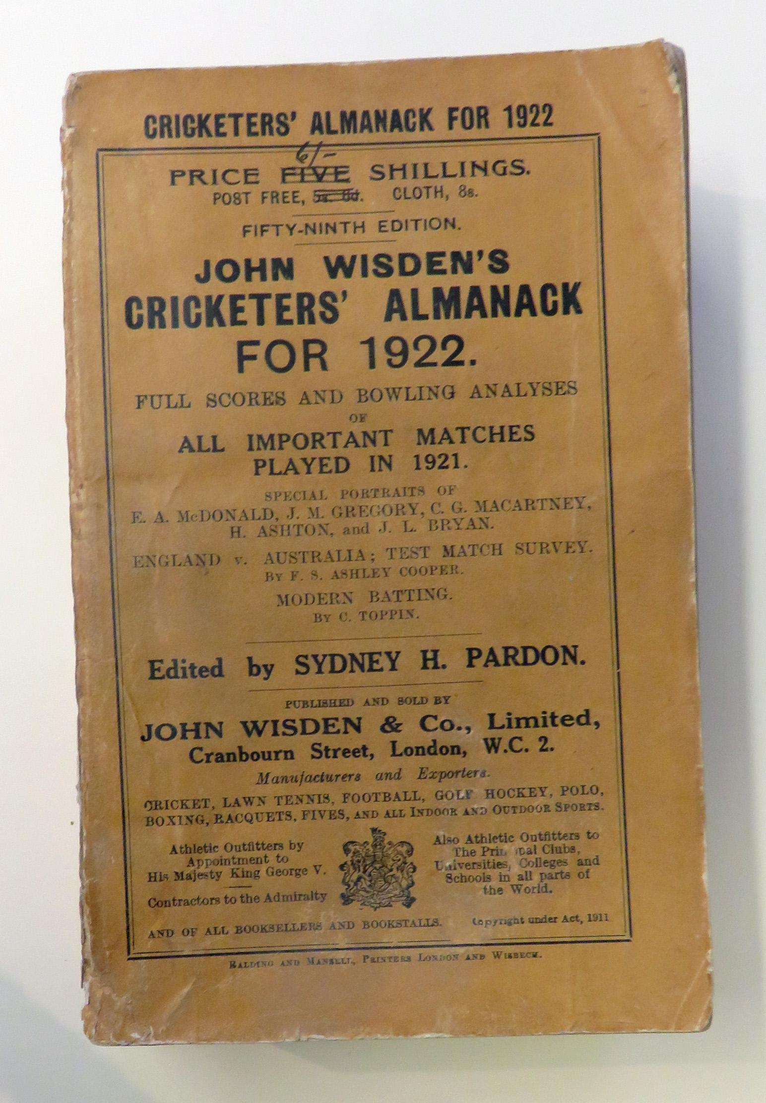 **John Wisden's Cricketers' Almanck For 1922