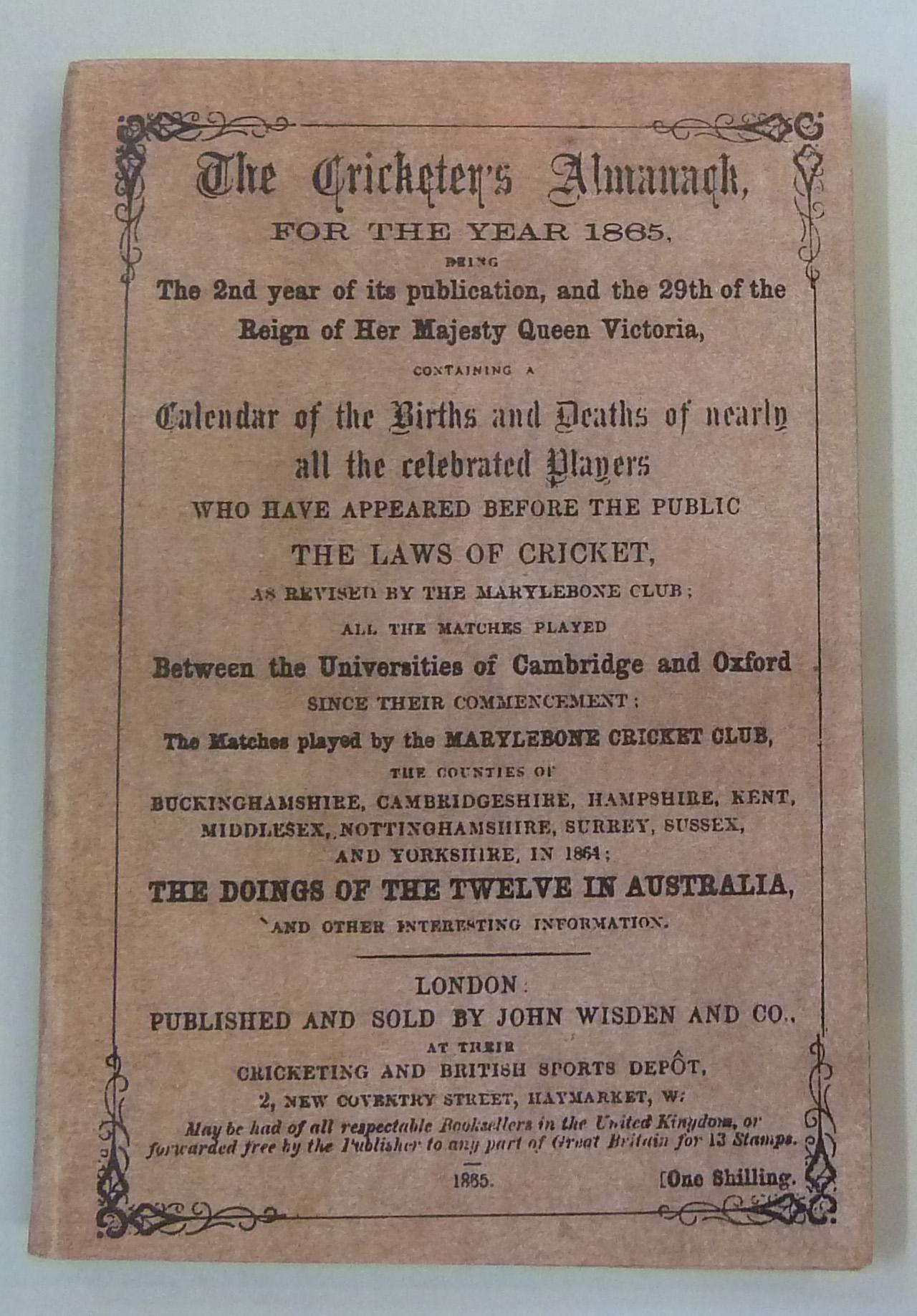 **Wisden The Cricketer's Almanack for the Year 1865