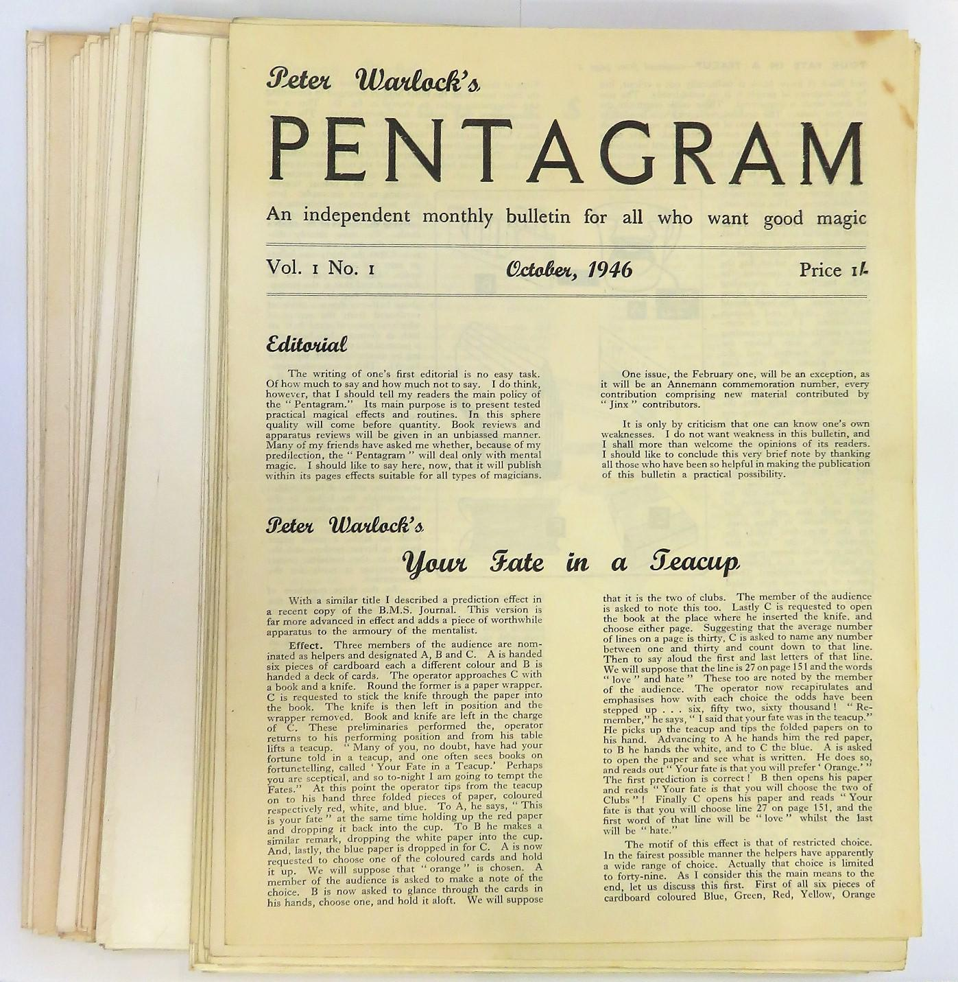 Peter Warlock's Pentagram Magazine from October 1946 through to September 1950 housed in a case