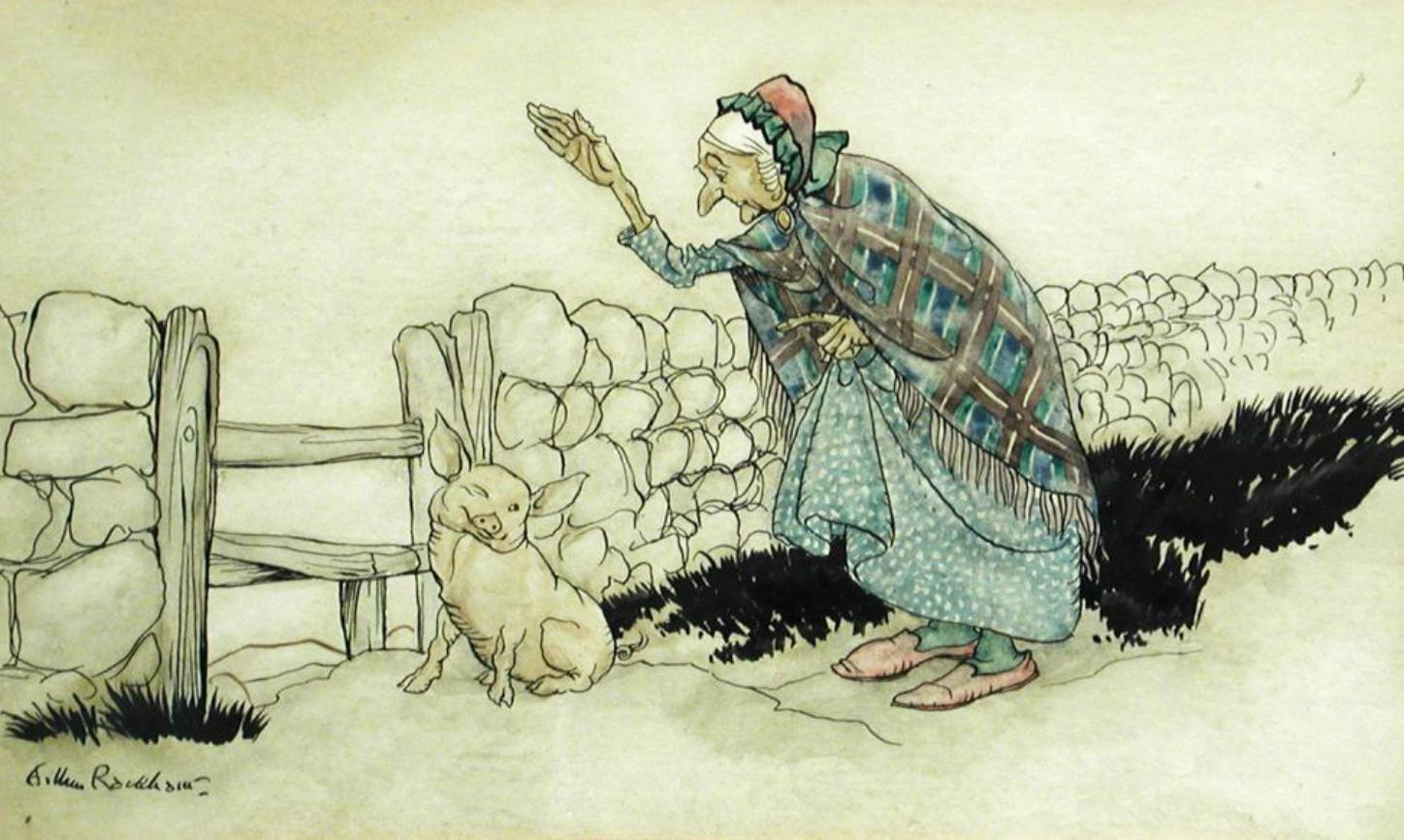 Original Watercolour Drawing of 'The Old Woman and the Pig'