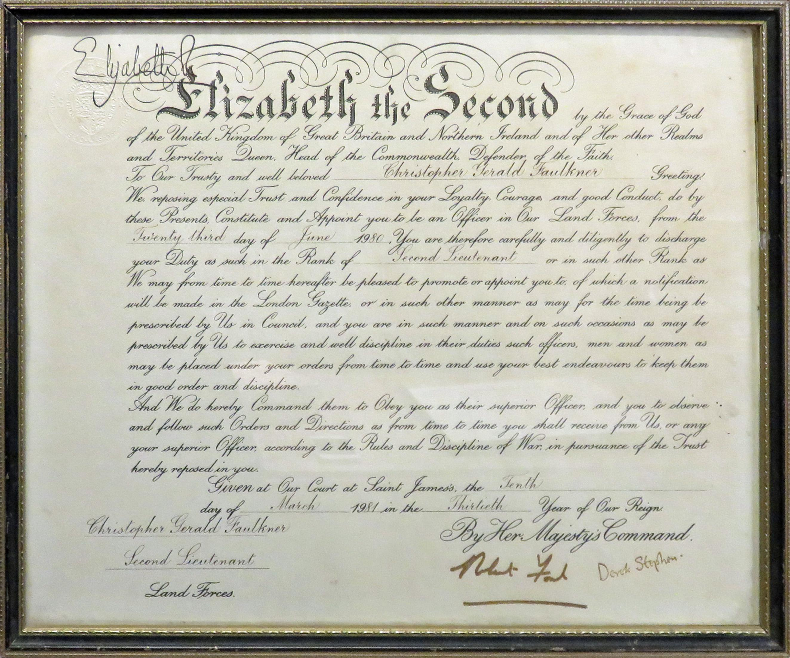 OBE Signed by Queen Elizabeth