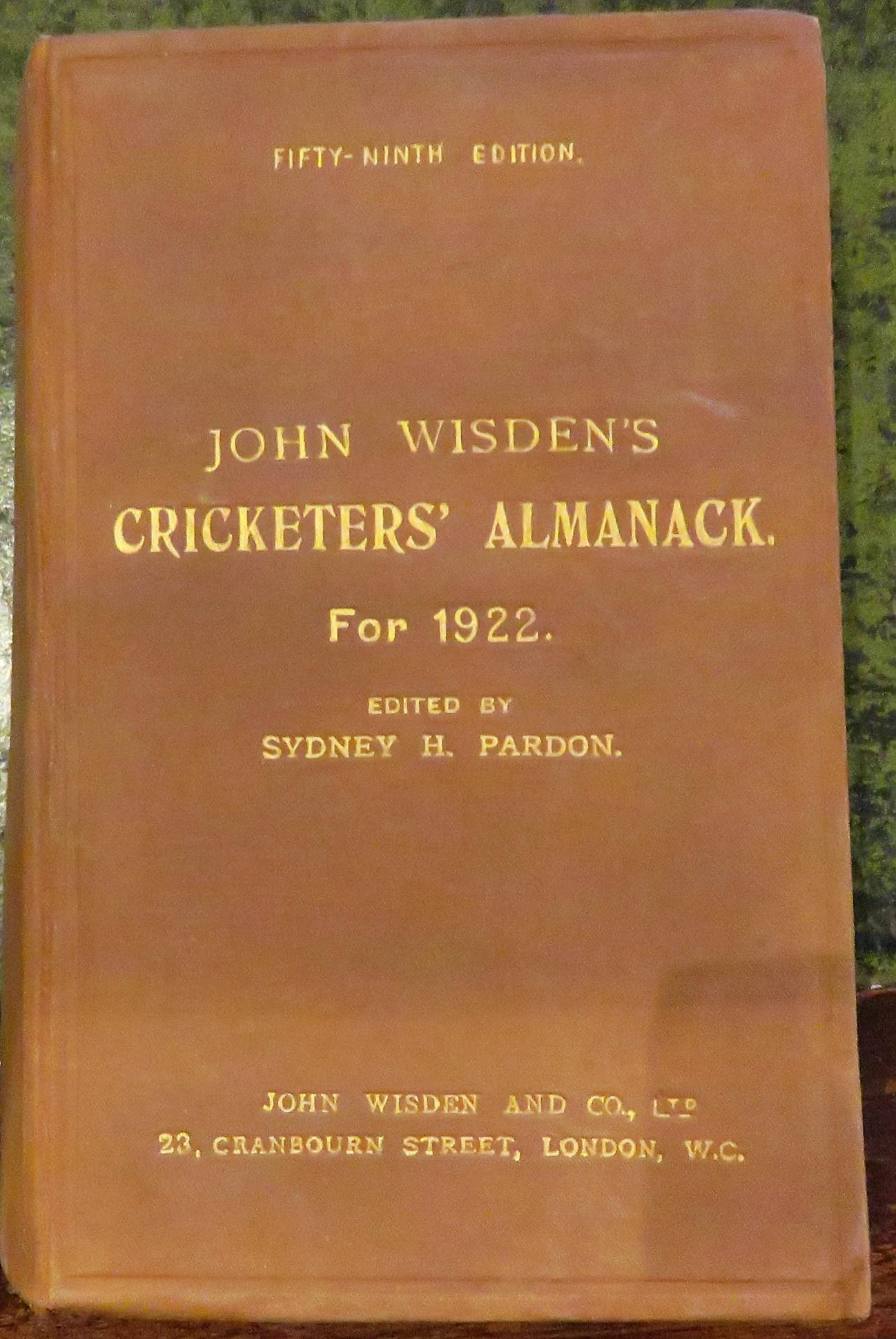 **John Wisden's Cricketers' Almanack For 1922**
