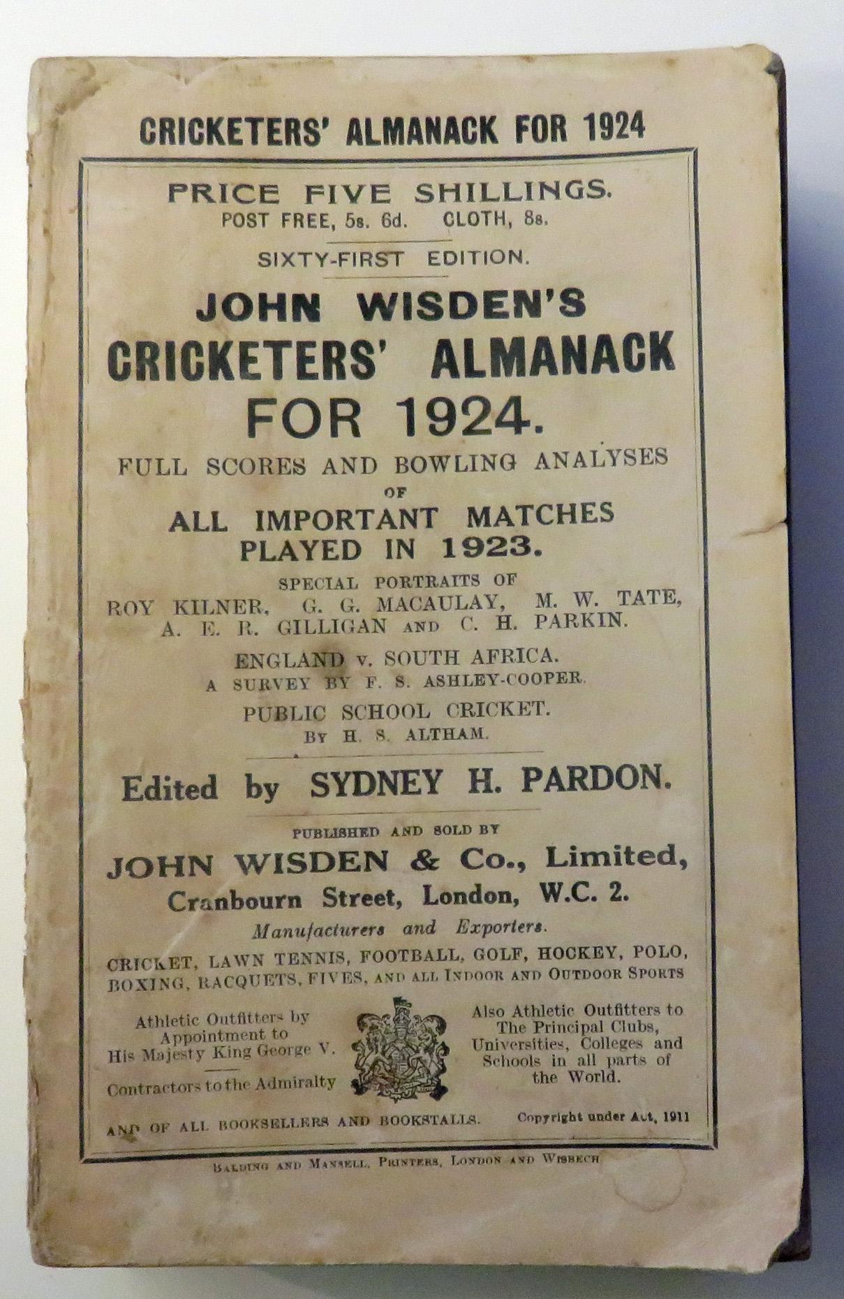 John Wisden's Cricketers' Almanack For 1924