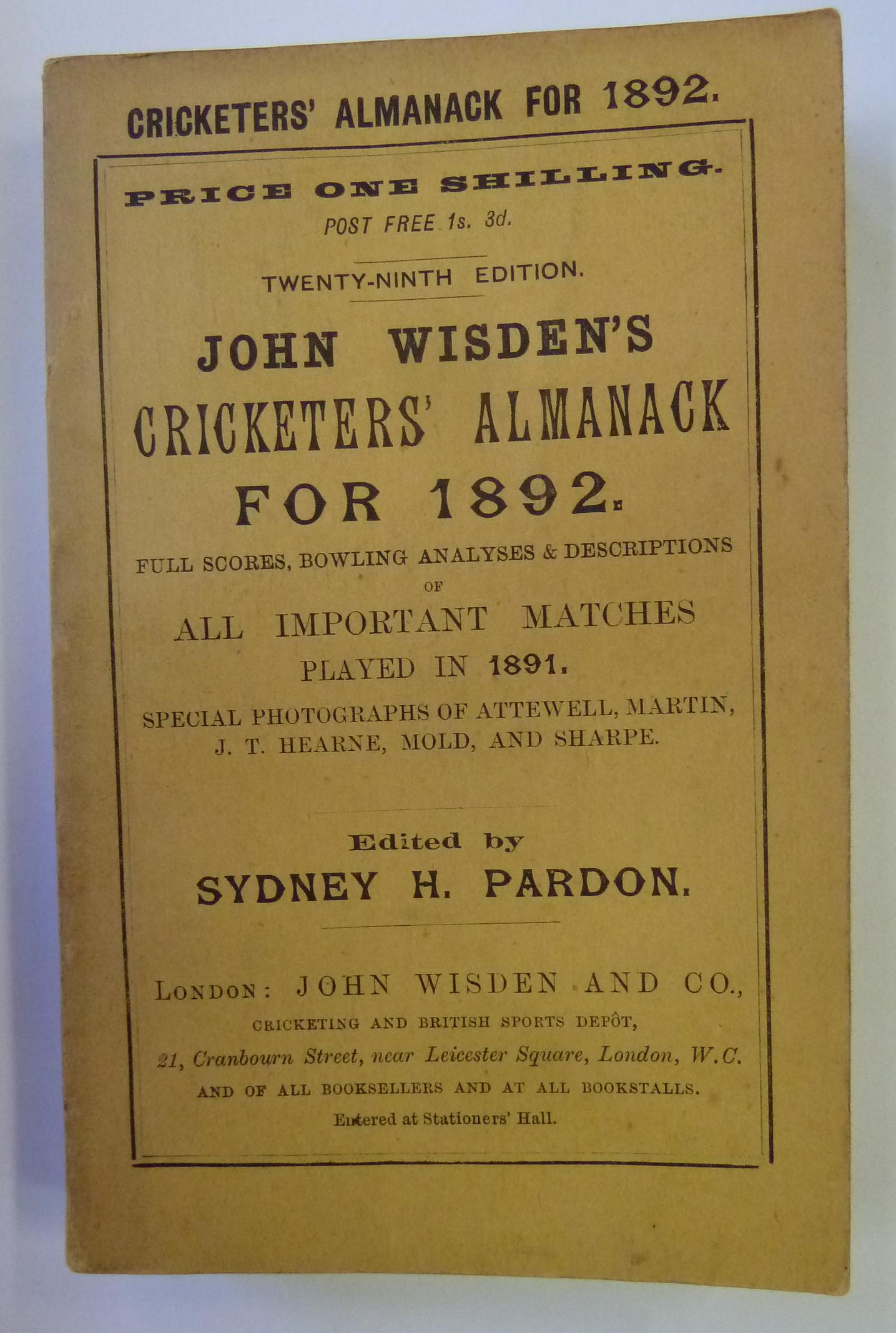 John Wisden's Cricketers' Almanack For 1892