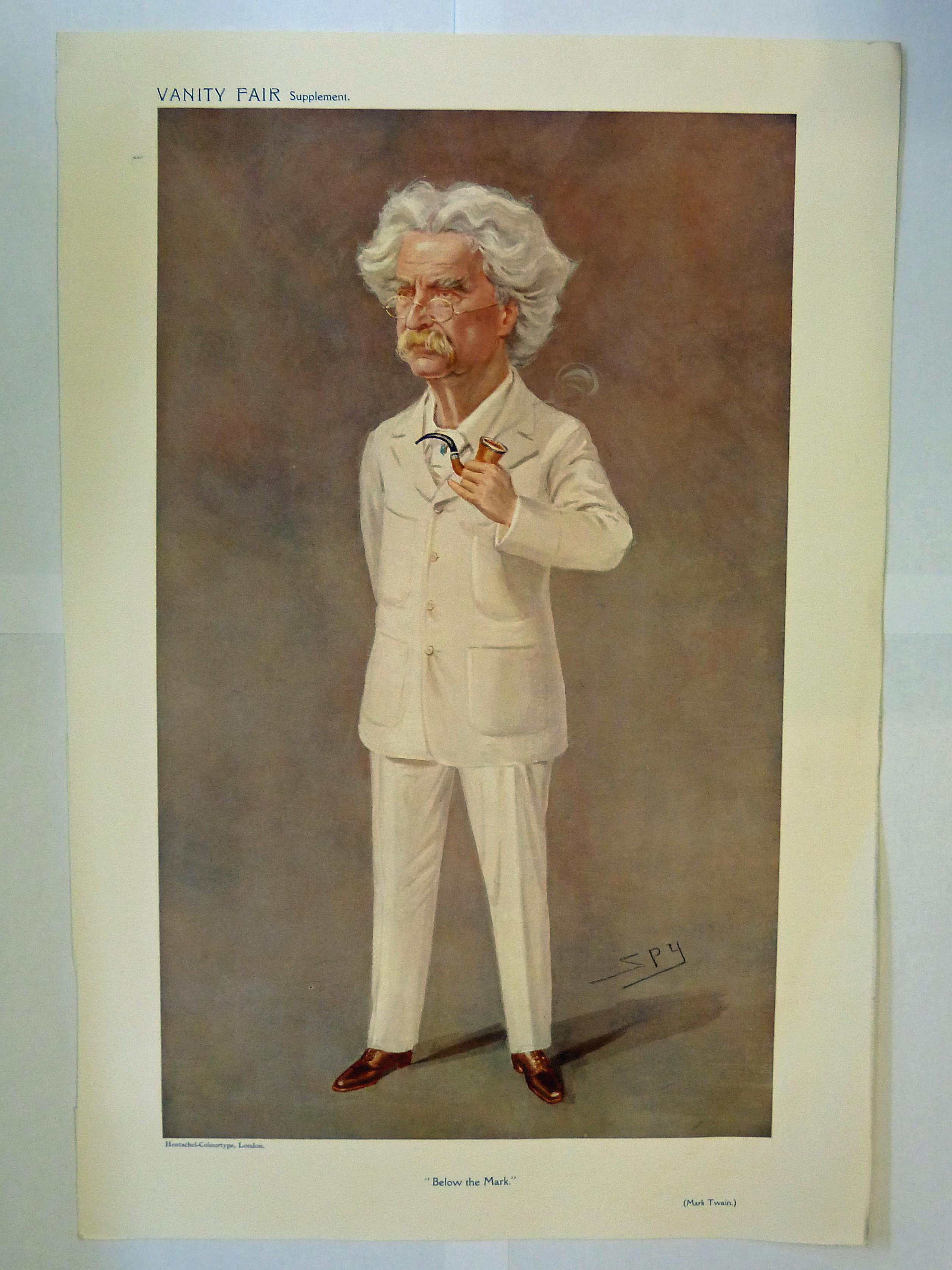 Original Vanity Fair Supplement Mark Twain Below the Mark May 13 1908