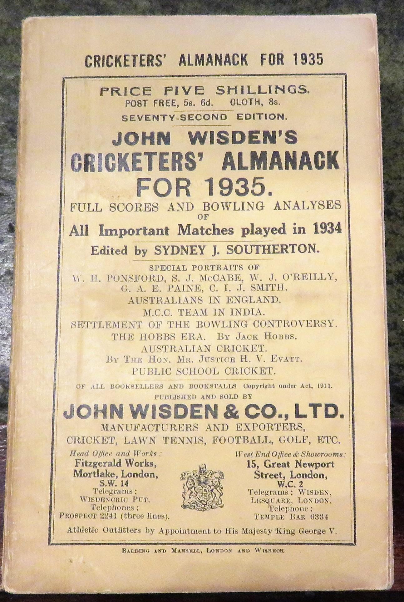 **John Wisden's Cricketers' Almanack For 1935