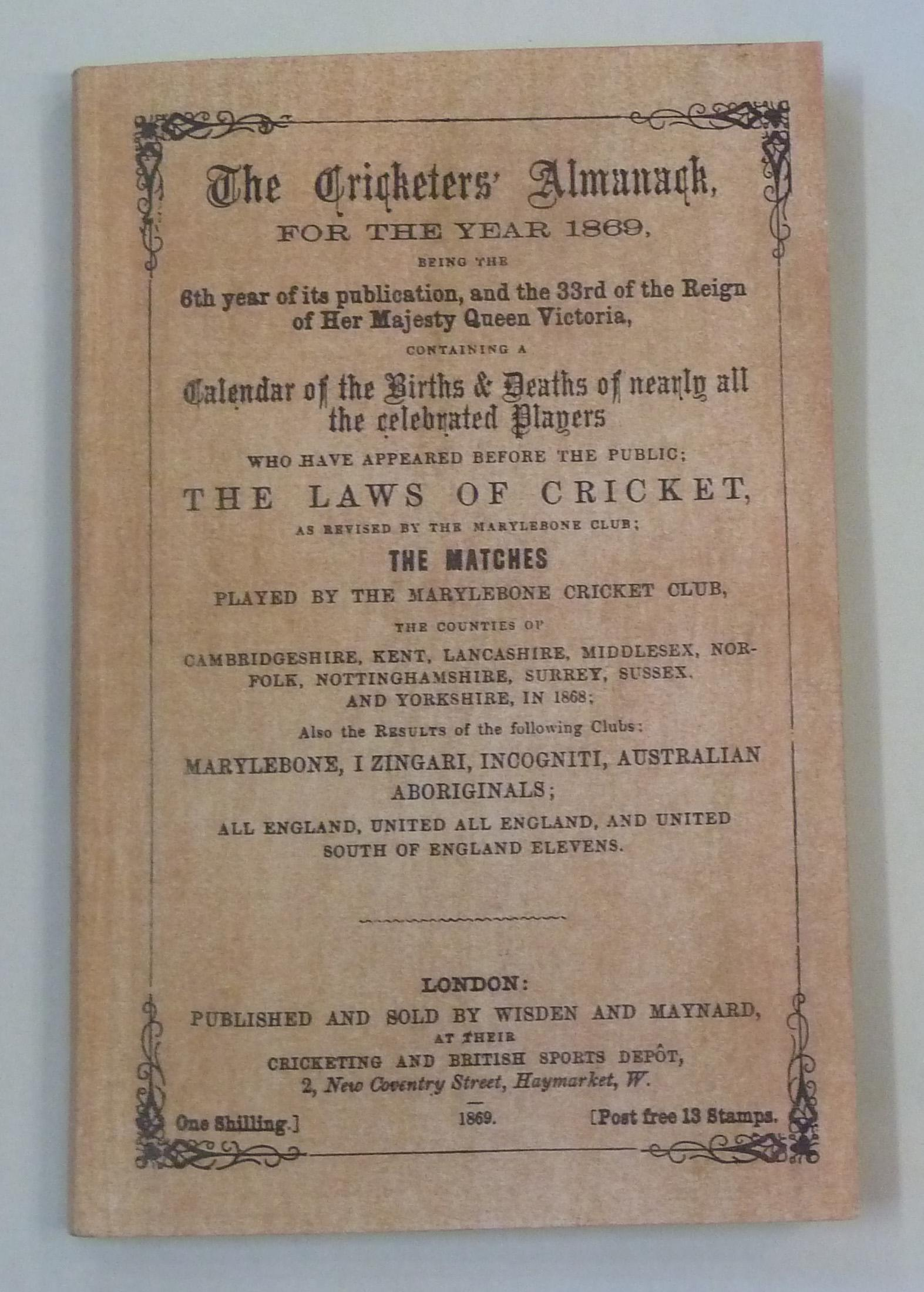 **Wisden The Cricketers' Almanack for the Year 1869