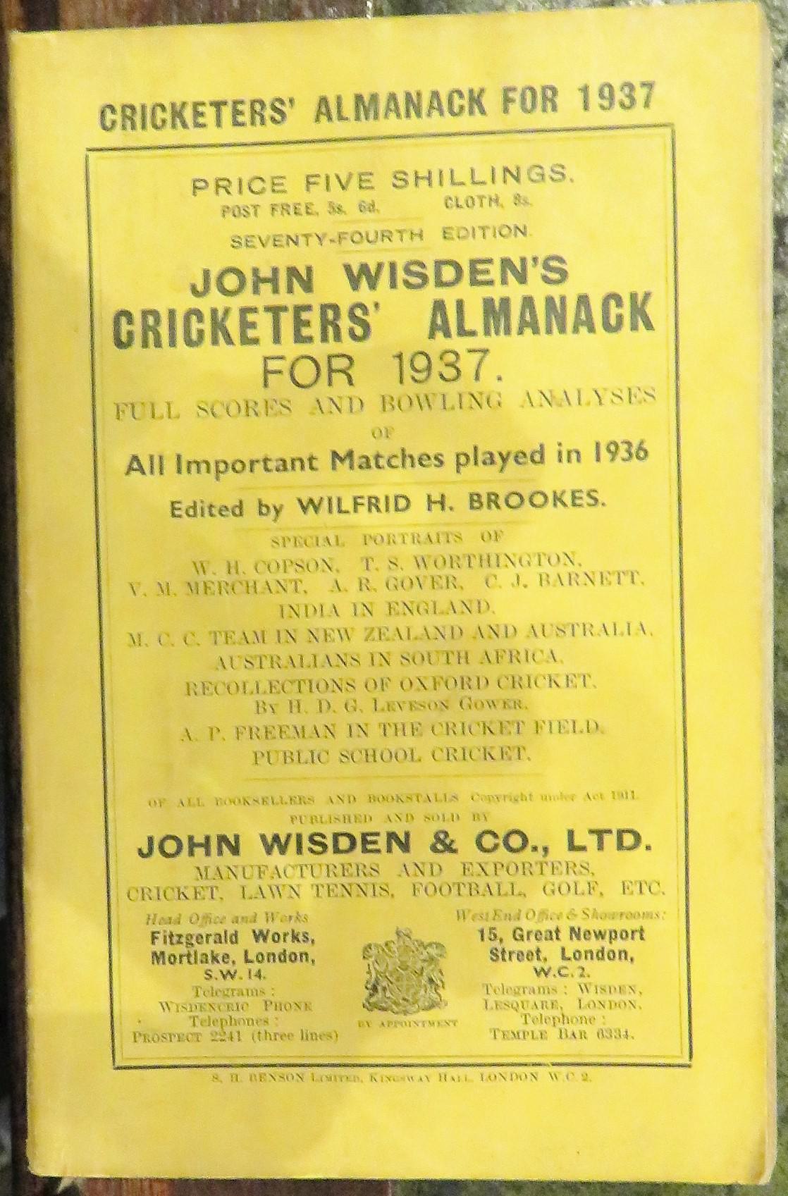 **John Wisden's Cricketers' Almanack For 1937