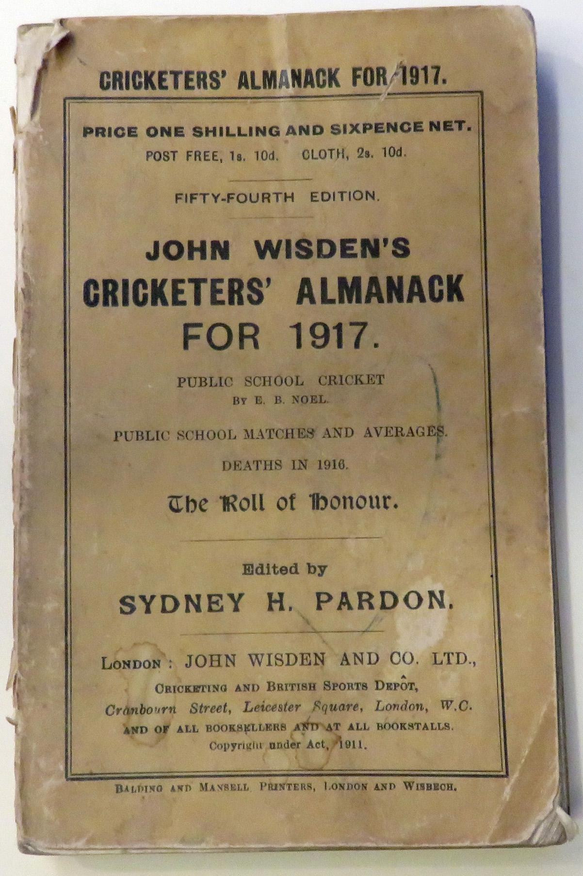 **John Wisden's Cricketers' Almanack For 1917