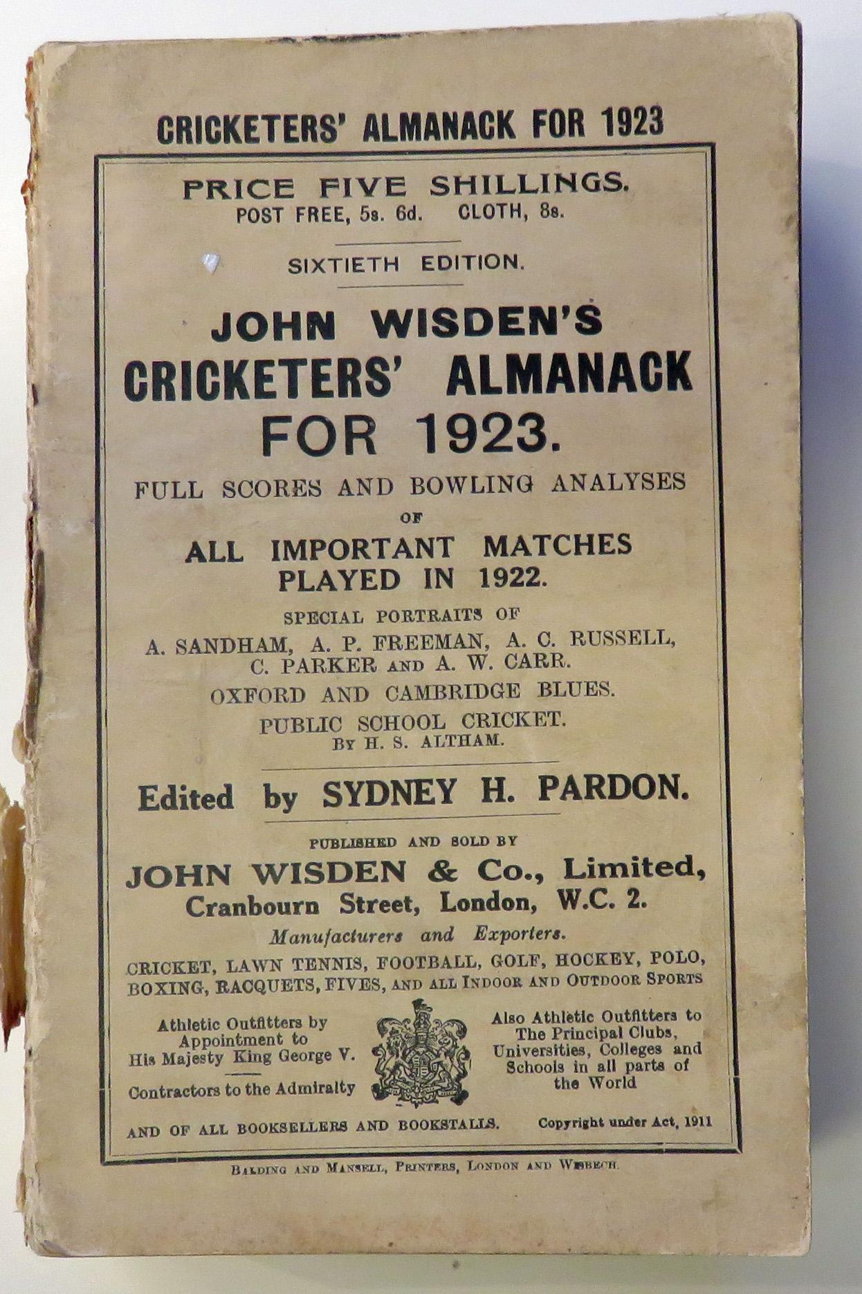 John Wisden's Cricketers' Almanack For 1923