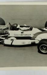 Black and White Photograph of Yardley Team BRM Car and Driver Number 2 1970's