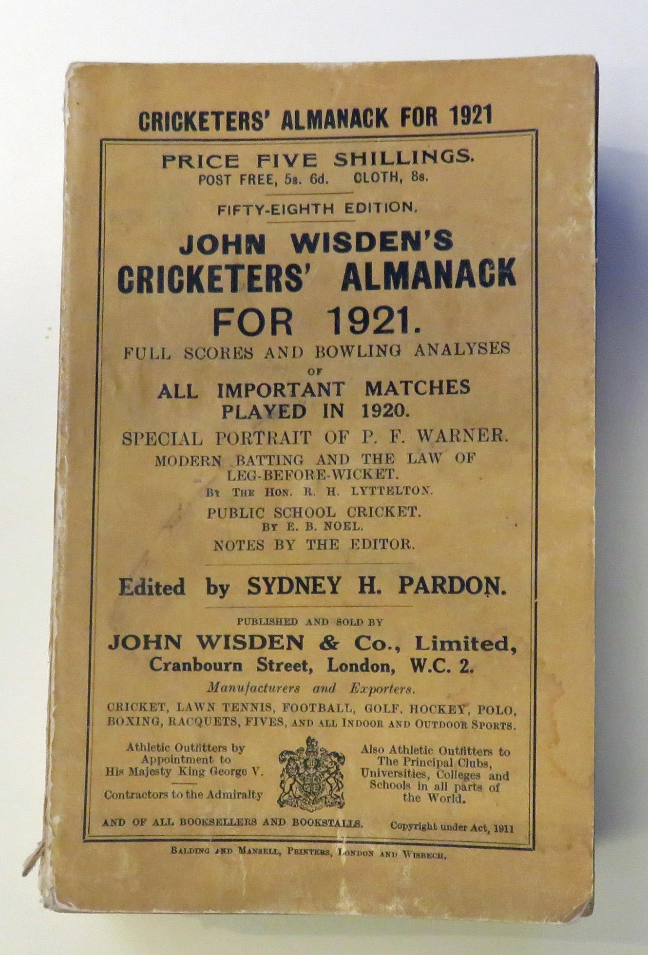 **John Wisden's Cricketers' Almanack For 1921