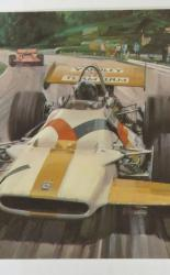 Postcard size colour reprint of Yardley Team BRM Driver Number 1 1970's by Motoring Artist Michael Turner