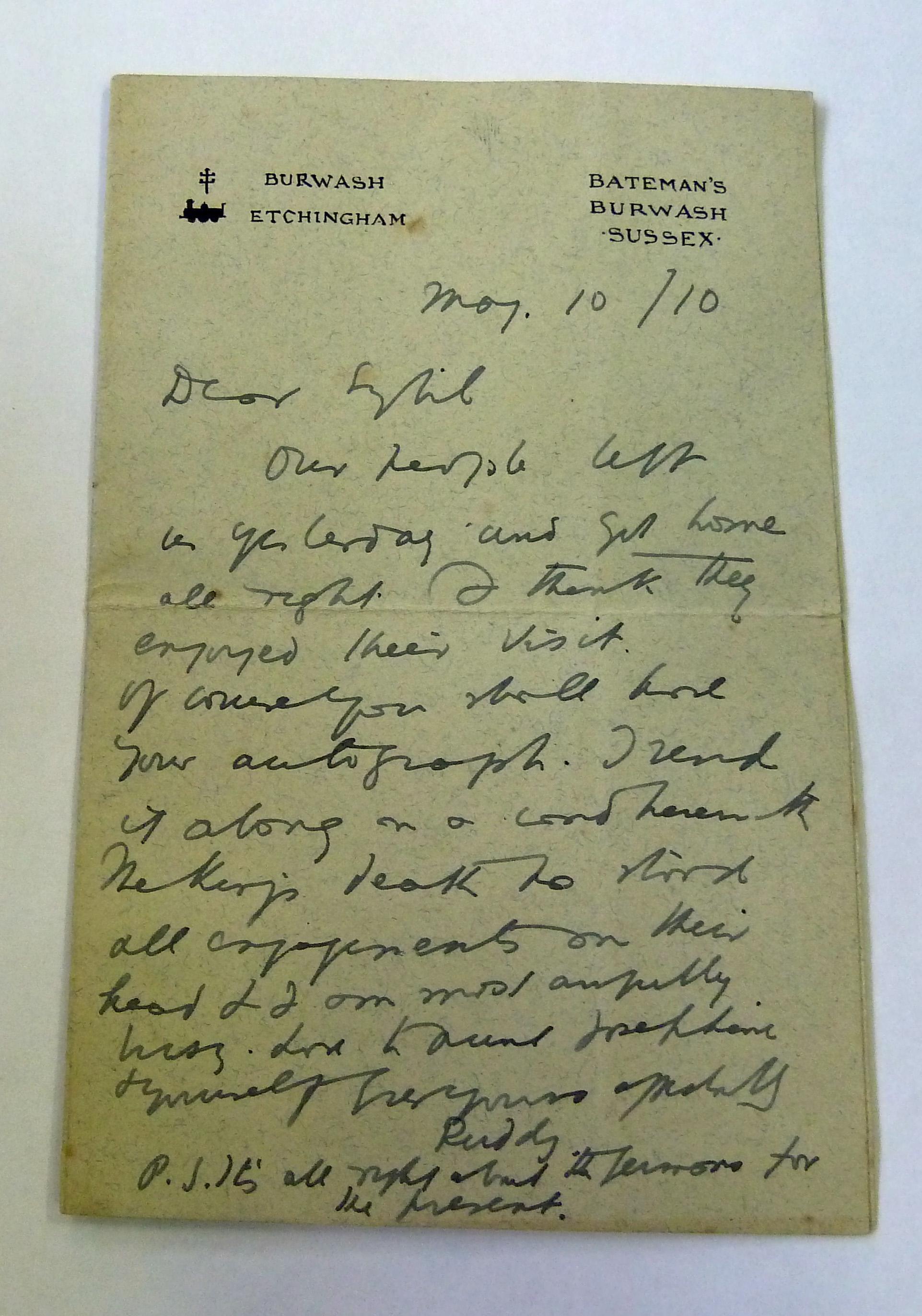 Signed Rudyard Kipling Letter