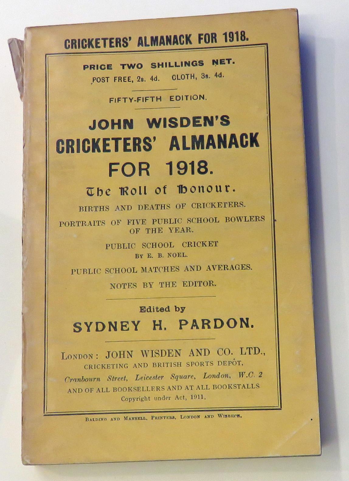 **John Wisden's Cricketers' Almanack For 1918